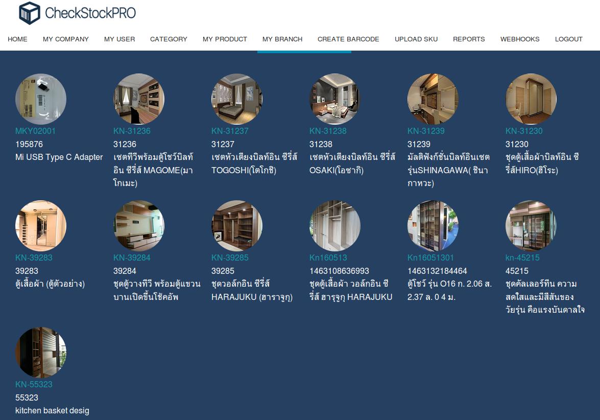 ตัวอย่าง หน้าจอ แสดงสินค้า CheckstockPRO แบบคลาวด์